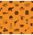 set of honey theme icons seamless pattern eps10 vector image
