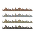 set of silhouettes of buildings vector image