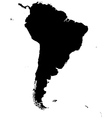 Silhouette map of South America vector image vector image