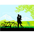 sillhouette of sweet young couple in love standing vector image vector image