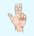 sketch of hand sign three finger color vector image