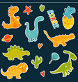 stickers set with cartoon cute dinos vector image vector image