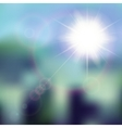 Summer background with sun burst with lens flare vector image