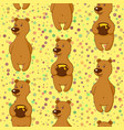 tile pattern bear with honey vector image