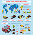 timber market isometric infographics vector image