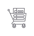 wheelbarrow in the supermarket line icon concept vector image vector image