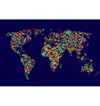 World map made of abstract colorful dots network