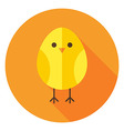 Yellow Chicken Circle Icon with long Shadow vector image vector image