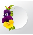 Frame of naturalistic pansy flower with leaves vector image