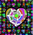 abstract ornament color lattice and large heart vector image vector image