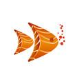 aquarium fish composition of salmon slices vector image vector image