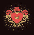 beautiful ornamental red heart with crown and vector image vector image