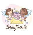best friends greeting card vector image