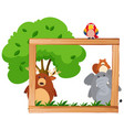border template with wild animals and tree vector image