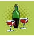 Bottle for wine and two glasses vector image vector image
