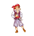Boy dressed as pirate for Christmas vector image