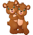cartoon bear couple hugging vector image vector image