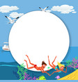 cartoon cute couple swimming in summer sea vector image vector image