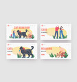 cat behavior landing page template set tiny vector image vector image