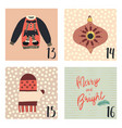 christmas advent calendar hand drawn vector image
