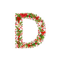 christmas floral tree letter D vector image vector image