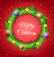 christmas wreath made pine leaf vector image vector image