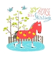 Colorful Fun Cartoon Ice Skating Horse for Kids vector image vector image