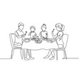 continuous one line drawing diner parents vector image vector image
