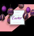easter card with square frame golden purple vector image vector image