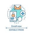enroll now concept icon vector image vector image