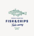 fish and chips abstract sign symbol or vector image