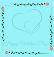 frame of roses on blue background valentines day vector image vector image