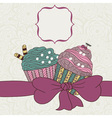 Frame with a bow and muffins vector image vector image