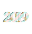 happy new year card blue striped number 2019 vector image