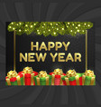 happy new year christmas card gift box garland vector image vector image