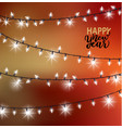 happy new year lettering greeting with lights vector image vector image