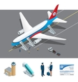 Isometric representing airport jet vector image