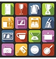 Kitchen appliances icons white vector image vector image