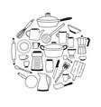kitchenware contour set on white background round vector image vector image