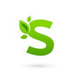 Letter S eco leaves logo icon design template vector image vector image