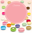 Macaroons background and sweet pink frame vector image vector image