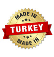 made in Turkey gold badge with red ribbon vector image vector image