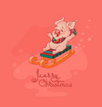 merry christmas card cute pig on sled vector image vector image