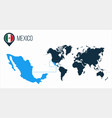 mexico map located on a world map with flag vector image vector image