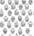 monpchrome seamless pattern with cupcakes cute bac vector image vector image