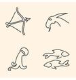 One line zodiac symbols set vector image
