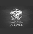 pirate skull with cross swords vector image vector image