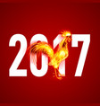 red cock fire rooster symbol new year by vector image