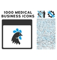 Rooster Head Calendar Page Icon With 1000 Medical vector image vector image