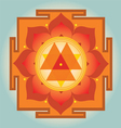 Sacred Geometry orange Durga yantra vector image vector image
